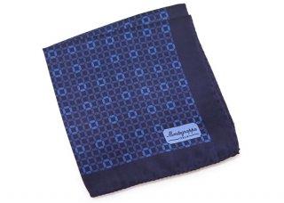 MONTEGRAPPA(モンテグラッパ) 3フォルド サテン ポケットスクエア(ブルー)(ハンカチ/チーフ) - ブランド