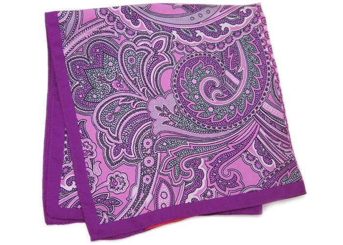 TINO COSMA(ティノコズマ) ペイズリー&ヘキサゴン シルク ポケットスクエア(パープル)(ハンカチ/チーフ) - ブランドの画像