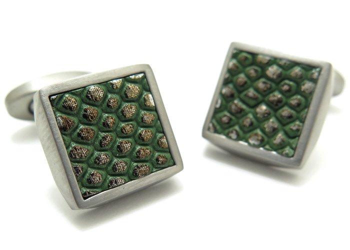 TATEOSSIAN(タテオシアン) チタニウム レザージオメトリックアニマルプリントカフス(グリーン) (カフスボタン/カフリンクス) - ブランドの画像