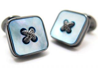 TATEOSSIAN(タテオシアン) ビジネス 半貴石ボタンのかがみカフス(青蝶貝)世界限定300セット(カフスボタン/カフリンクス) - ブランド