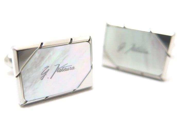 YUMI KATSURA(桂由美) レクタングルサイドカット白蝶貝タイクリップ&カフスセット(カフリンクス/ネクタイピン/タイバー) - ブランドの画像