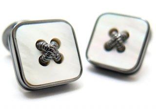 TATEOSSIAN(タテオシアン) ビジネス 半貴石ボタンのかがみカフス(白蝶貝)世界限定300セット(カフスボタン/カフリンクス) - ブランド