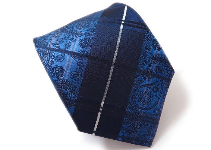 SIMON CARTER(サイモンカーター) チェック ペイズリー シルクネクタイ(ブルー) (ネクタイ/タイ) - ブランドの画像