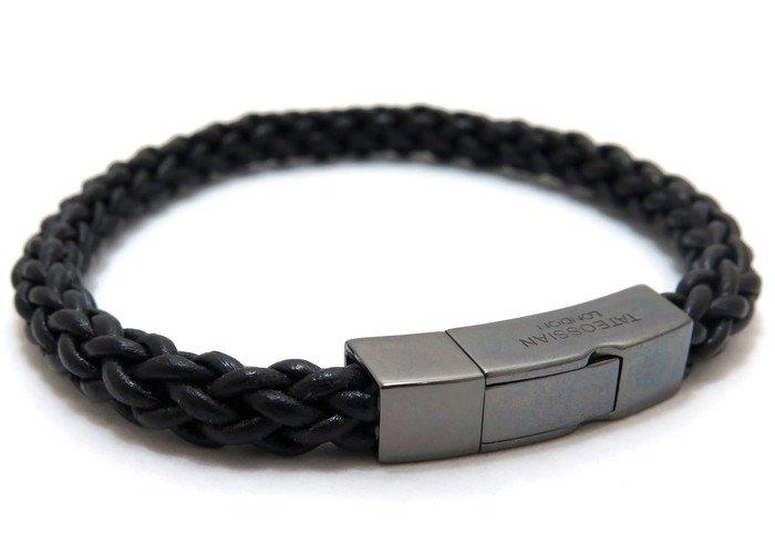TATEOSSIAN(タテオシアン)レザーシルバークリックトレンザブレスレット(ブラックロジウム&ブラック) - ブランドの画像