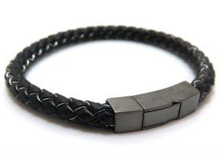 TATEOSSIAN(タテオシアン)レザーシルバークリックトッコブレスレット(マットブラックロジウム&ブラック&グレー) - ブランド