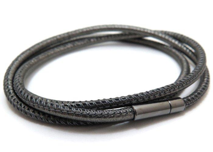 TATEOSSIAN(タテオシアン)レザーシルバートリプロミニポップブレスレット(ブラックロジウム&メタリックグレー) - ブランドの画像