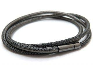 TATEOSSIAN(タテオシアン)レザーシルバートリプロミニポップブレスレット(ブラックロジウム&メタリックグレー) - ブランド