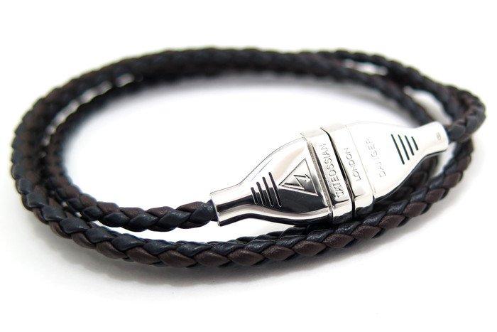 TATEOSSIAN(タテオシアン) シルバーエレクトリックレザーブレスレット (ブラック&ブラウン) - ブランドの画像