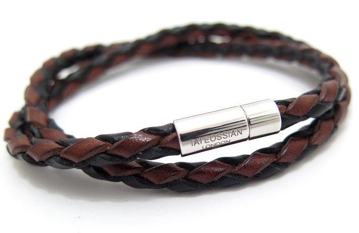 TATEOSSIAN(タテオシアン) 編み上げポップレザーブレスレット(ブラウンブラック) - ブランドの画像