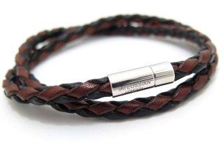 TATEOSSIAN(タテオシアン) 編み上げポップレザーブレスレット(ブラウンブラック) - ブランド