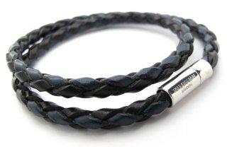 TATEOSSIAN(タテオシアン) 編み上げポップレザーブレスレット(ブルーブラック) - ブランド