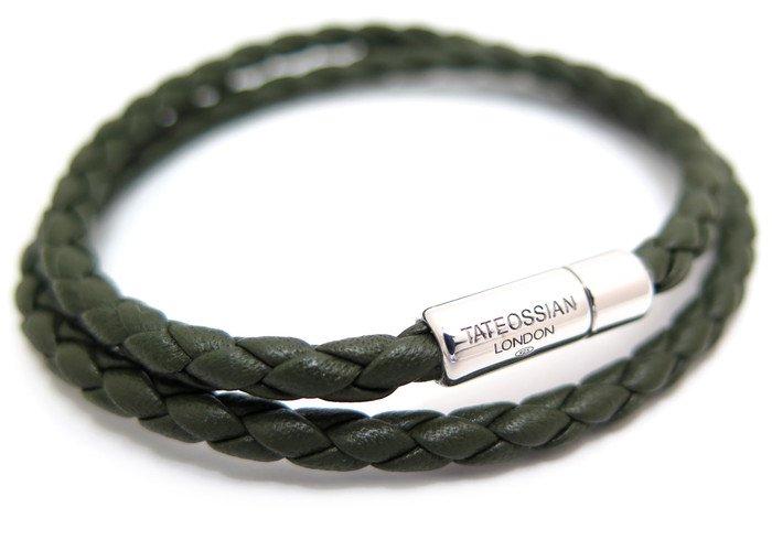 TATEOSSIAN(タテオシアン) 編み上げポップレザーブレスレット(グリーン) - ブランドの画像