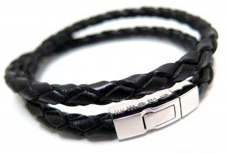 TATEOSSIAN(タテオシアン) 編み上げクリックシルバーブレスレット(ブラック) - ブランド