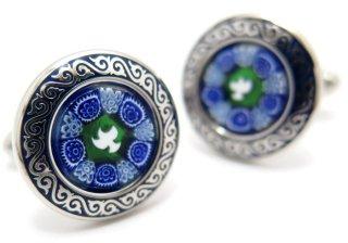 MONART(モンアート) ベネチアンガラスフラワーカフス(ブルー)(カフスボタン/カフリンクス) - ブランド
