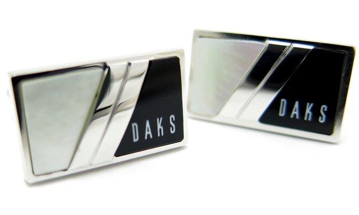 DAKS(ダックス) レクタングル白蝶貝&オニキスカフス(カフスボタン/カフリンクス) - ブランドの画像