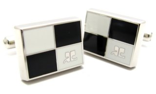 courreges(クレージュ) パーティションカフス(ブラック&ホワイト)(カフスボタン/カフリンクス) - ブランド
