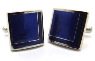 courreges(クレージュ) ダブルスクウェアカフス(ブルー)(カフスボタン/カフリンクス) - ブランド