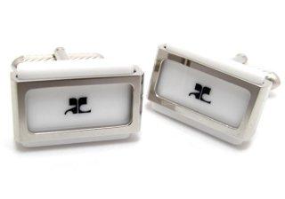 courreges(クレージュ) ホワイトアクリルプレートカフス(カフスボタン/カフリンクス) - ブランド