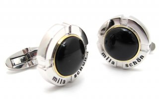 mila schon(ミラ・ショーン) 円形オニキスカフス(カフスボタン/カフリンクス) - ブランド