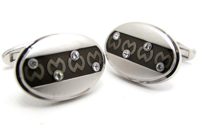 mila schon(ミラ・ショーン) 楕円形ボーダーロゴパターンカフス(カフスボタン/カフリンクス) - ブランドの画像