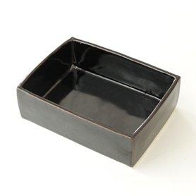 伊賀 角鉢 5.5寸 長方形 黒飴釉