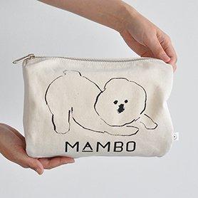MAMBO ラウンドボックスポーチ L 生成り