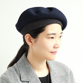 BERET top gather rib 2 tone MKF2111TT ネイビー