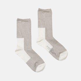 GEMINI 配色の靴下 リネン コムギ/ホワイト