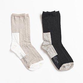 GEMINI 配色の靴下 リネン ブラック/コムギ