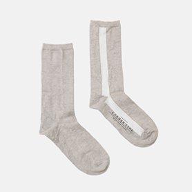 GEMINI Iライン配色の靴下 リネン コムギ/ホワイト