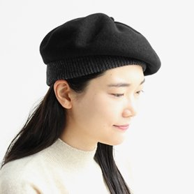 BERET top gather rib 2 tone MKF2111TT ブラック