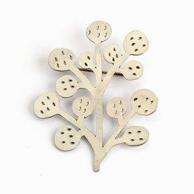 インドのブローチ 木 ホワイトメタル
