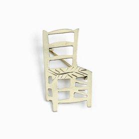 インドのブローチ 椅子 ホワイトメタル