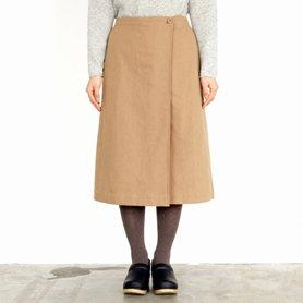 ウールコットン巻きスカート キャメル[30%OFF]