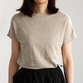 Linen 100 T-shirt フレンチスリーブ ベージュ