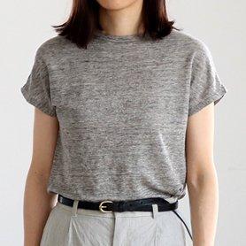 Linen 100 T-shirt フレンチスリーブ グレー