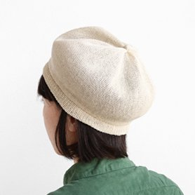 beret top gather linen MLK-01 アイボリー