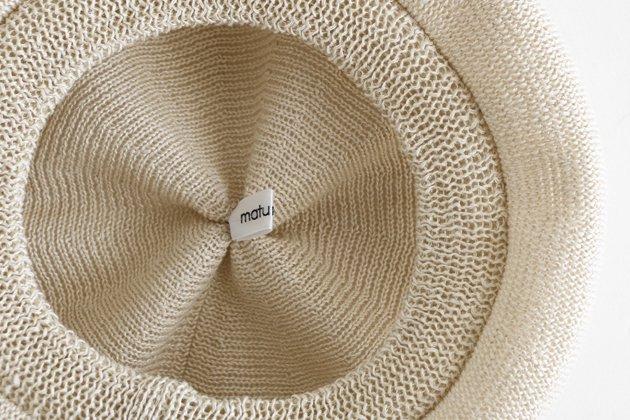 「mature ha.(マチュアーハ)」のベレー帽「beret top gather linen MLK-01 アイボリー」
