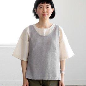 linen vest ライトグレー