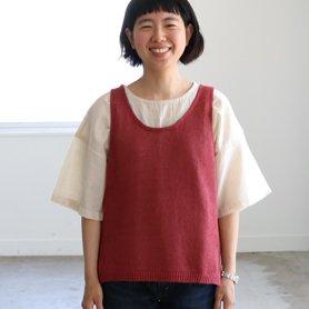 linen vest アカ