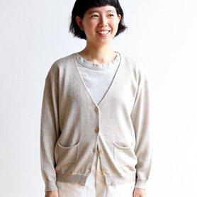 linen wool cardigan ベージュ