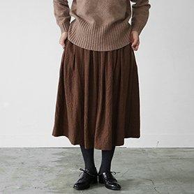 mug check skirt ブラウン×サックス[30%OFF]