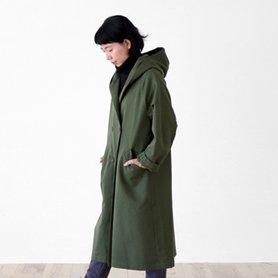 cotton wool chino coat カーキ