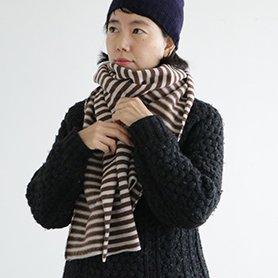 cloud border knit stall ブラウンボーダー[30%OFF]