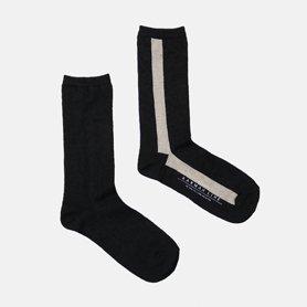 GEMINI Iライン配色の靴下 リネン ブラック/サンド