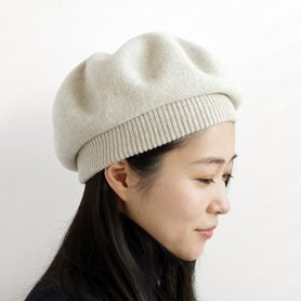 MKF-24011 beret top gather rib lamb アイボリー