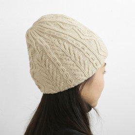 MK-2537 slant cutting knit cap aran3 lamb アイボリー