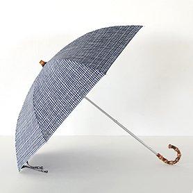 ドローイングチェック 晴雨兼用 折りたたみ傘 ネイビー