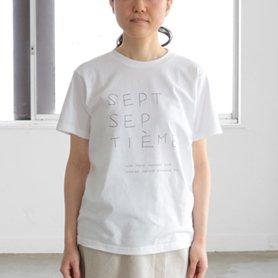 Tシャツ sept septième 鉛筆文字 ホワイト