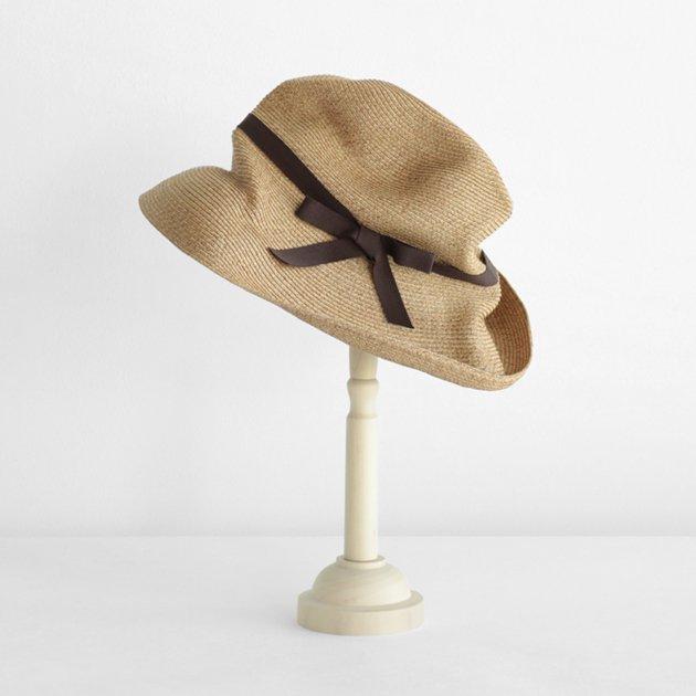 「mature ha.(マチュアーハ)」のブレードハット「BOXED HAT 101 ミックスブラウン×ダークブラウンリボン」